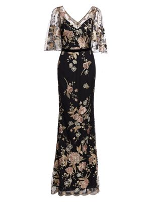 Floral Embroidery Cape Sleeve Gown by Marchesa Notte