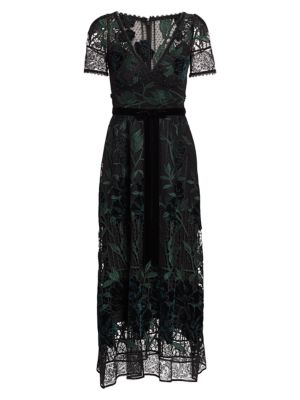 Embroidered Velvet & Lace Cocktail Dress by Marchesa Notte