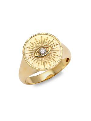 14 K Yellow Gold & Diamond Marquis Eye Ring by Sydney Evan
