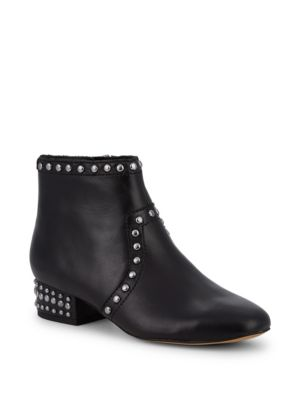Studded Block Heel Leather Booties by Sam Edelman