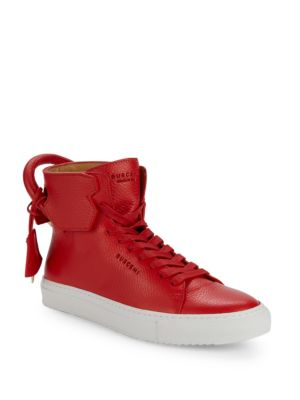 Leather High Top Sneakers by Buscemi