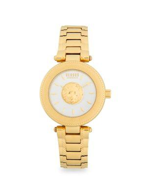 Lion Head Goldtone Stainless Steel Analog Bracelet Watch by Versus Versace
