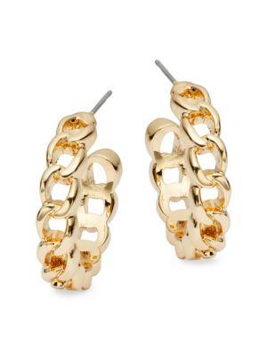 Goldtone Chain Huggie Hoop Earrings by Ava & Aiden