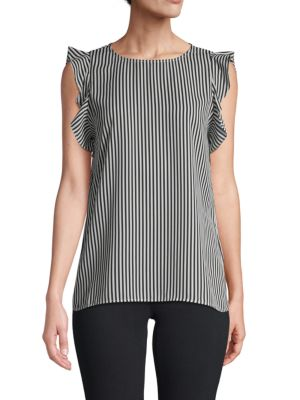 Striped Flutter Sleeve Top by Saks Fifth Avenue