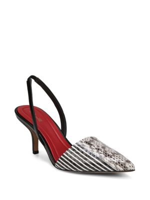 Mortelle Black & White Snake Slingbacks by Diane Von Furstenberg
