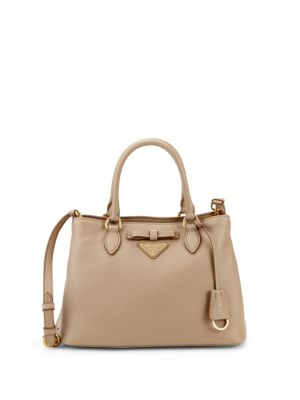 Bow Leather Logo Satchel by Prada