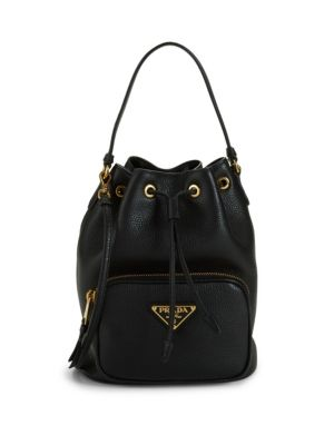 Triangle Logo Leather Bucket Bag by Prada