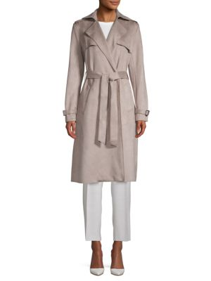 Mel Faux Suede Trench Coat by T Tahari