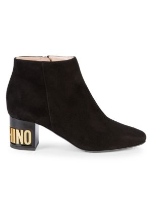 Suede Logo Booties by Moschino