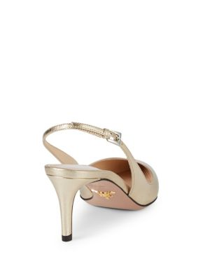 Metallic Leather Slingback Pumps by Prada