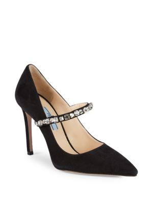 Crystal Embellished Suede Pumps by Prada