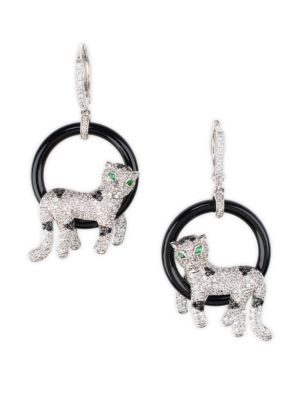 Pavé Cubic Zirconia & Onyx Panther Earrings by Cz By Kenneth Jay Lane