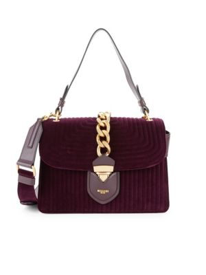 Textured Velvet & Leather Handbag by Moschino
