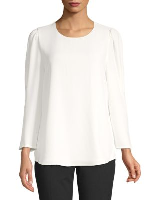 Long Sleeve Puff Shoulder Blouse by Calvin Klein