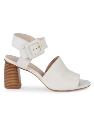 Savy Stacked Heel Leather Ankle Strap Sandals by Stuart Weitzman