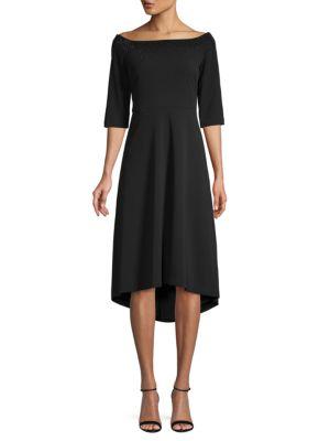 Embellished Off The Shoulder High Low Dress by Calvin Klein