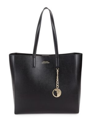Logo Leather Tote by Versace Collection