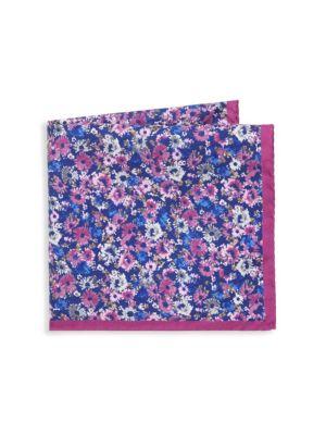 Saks Fifth Avenue Floral Print Silk Pocket Square