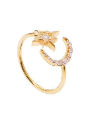 Cubic Zirconia Moon & Star Adjustable Ring by Gabi Rielle