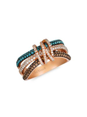 Le Vian Exotics® 14 K Strawberry Gold®, Chocolate Diamonds®, Ice Blue Diamonds & Vanilla Diamonds® Ring by Le Vian