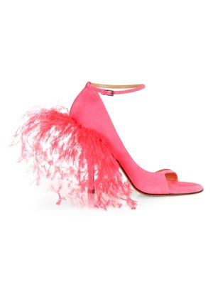 Suede & Feather High Heel Sandals by Valentino Garavani