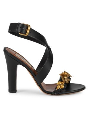 Metallic Floral Leather Sandals by Valentino Garavani