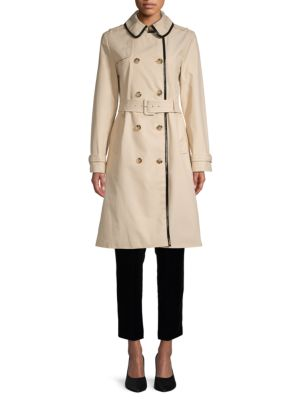 Pleather Trim Trench Coat by Kate Spade New York