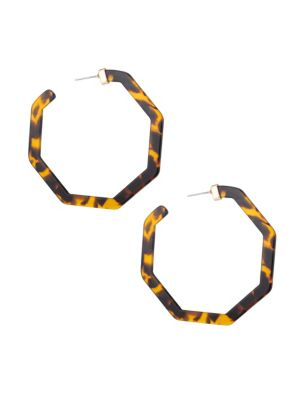 Luxe Tortoise Print Resin Hexagon Hoop Earrings by Eye Candy La