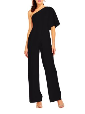 Solid One Shoulder Jumpsuit by Adrianna Papell