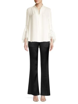 Gaia Lace Trimmed Silk Blouse by Elie Tahari
