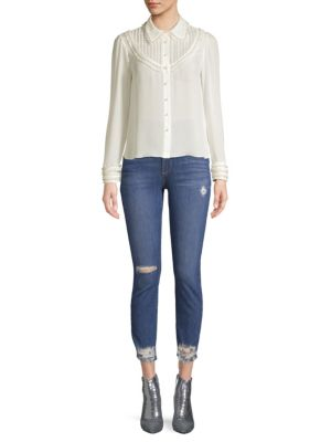 Noreen Pintuck Yoke Silk Blouse by Alice + Olivia