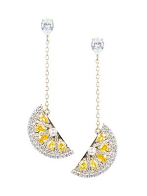 Crystal Lemon Drop Linear Earrings by Eye Candy La