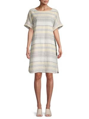 Lydia Oversized Striped Linen Shift Dress by Lafayette 148 New York