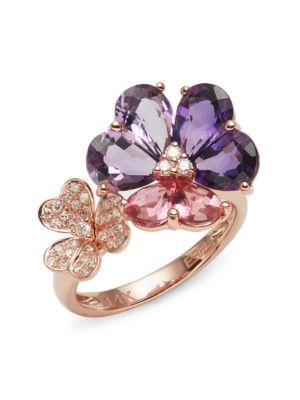 14 K Rose Gold, Amethyst, Pink Tourmaline & Diamond Flower Ring by Effy