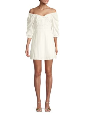 Off The Shoulder Cotton Blend Mini Dress by J.O.A.