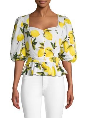 Lemon Print Stretch Top by English Factory