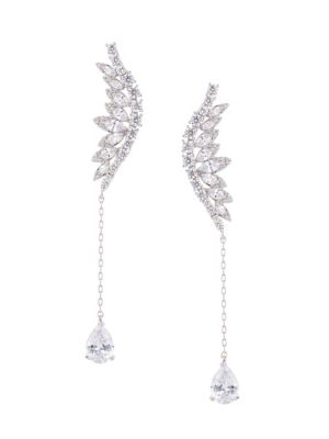 Luxe Rhodium Plated Mystical Clear Cubic Zirconia Drop Earrings by Eye Candy La