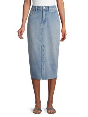 Raw Hem Denim Pencil Skirt by Free People