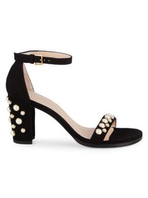 Bing Pearl Studded Sandals by Stuart Weitzman