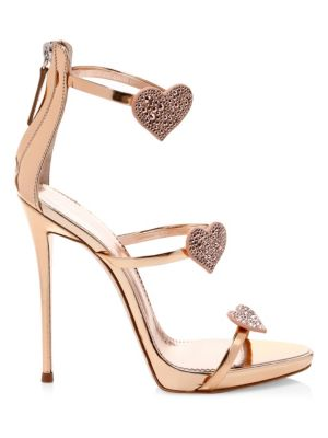 Swarovski Crystal & Leather Stiletto Heart Sandals by Giuseppe Zanotti
