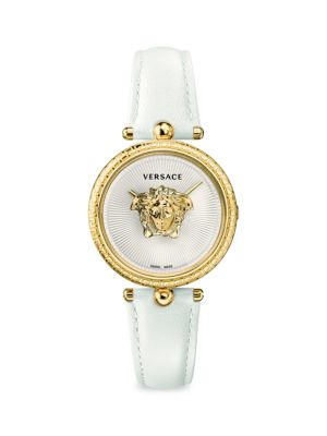 Goldtone Stainless Steel And Leather Strap Watch by Versace