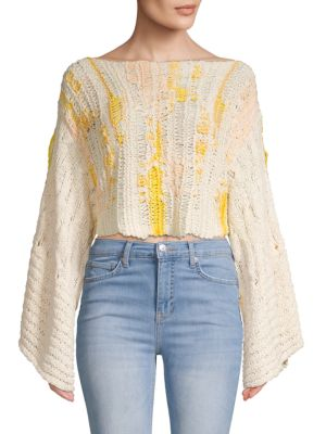 Textured Cotton Blend Cropped Sweater by Free People