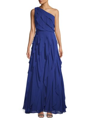 One Shoulder Chiffon Gown by Carmen Marc Valvo Infusion