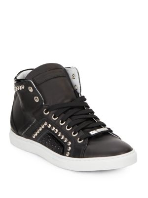 Studded High Top Leather Sneakers by Alessandro Dell'acqua