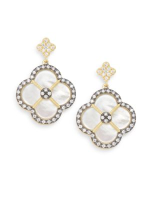 Mother Of Pearl & 14 K Yellow Gold Vermeil Clover Drop Earrings by Freida Rothman