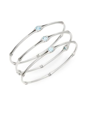 Bamboo Swiss Blue Topaz & Sterling Silver Bangle Set by John Hardy