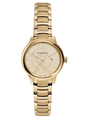 Goldtone Stainless Steel Check Etched Bracelet Watch by Burberry