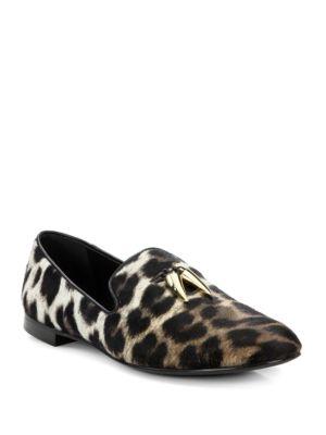 Calf Hair Animal Print Loafers by Giuseppe Zanotti