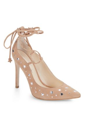 Walska Star Studded Suede Lace Up Pumps by Isa Tapia