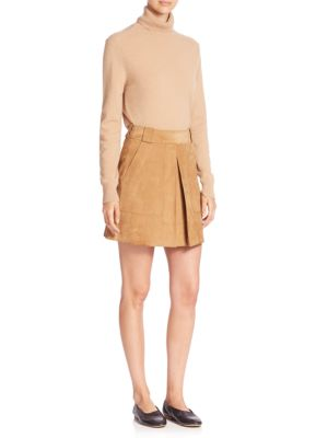 Suede Inverted Pleat Mini Skirt by Vince